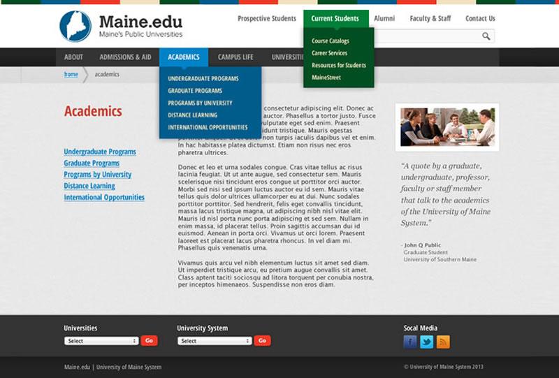 Maine.edu | Sample of Our Work
